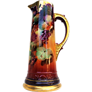 "Spectacular Limoges France & Pickard Studio of Chicago 1900 Hand Painted ""Grape Clusters"" 14-3/4"" Tankard by the Artist, ""Seidel"""