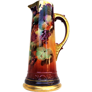 """Spectacular Limoges France & Pickard Studio of Chicago 1900 Hand Painted """"Grape Clusters"""" 14-3/4"""" Tankard by the Artist, """"Seidel"""""""