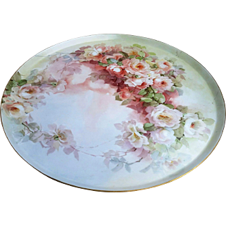 """Fabulous Large 17-5/8"""" GDA France Limoges 1900's Hand Painted """"Peach & White Roses"""" Vintage Floral Tray"""
