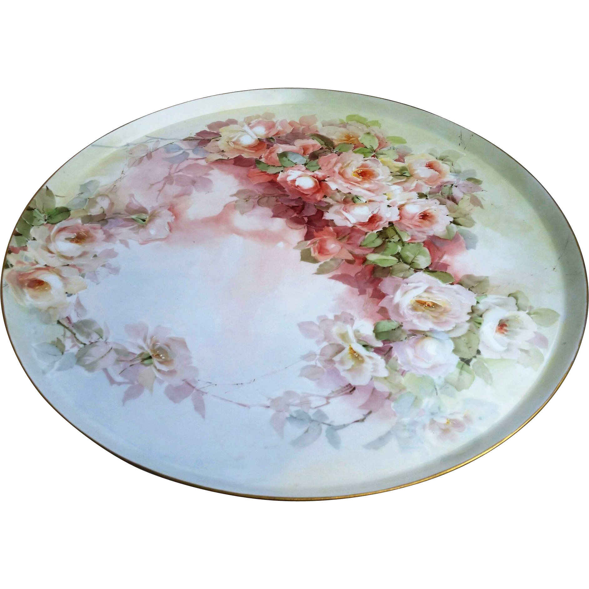 "Fabulous Large 17-5/8"" GDA France Limoges 1900's Hand Painted ""Peach & White Roses"" Vintage Floral Tray"