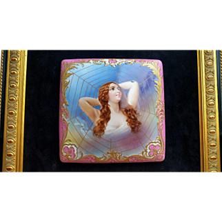 """Gorgeous Royal Vienna 1900 Hand Painted """"Lady In The Gold Web"""" 9"""" x 9"""" Portrait Piece by the Artist, """"GAS"""""""