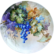 "Gorgeous Bavaria Late 1900's Hand Painted ""Purple & Plum Colored Grapes"" 12"" Floral Plate by the Listed Artist, ""Willene Hatfield"""