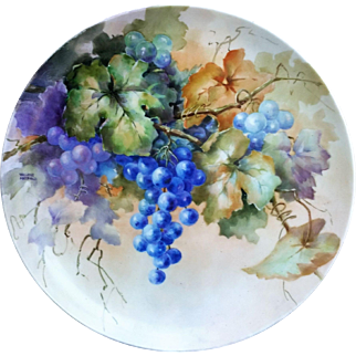 """Gorgeous Bavaria Late 1900's Hand Painted """"Purple & Plum Colored Grapes"""" 12"""" Floral Plate by the Listed Artist, """"Willene Hatfield"""""""