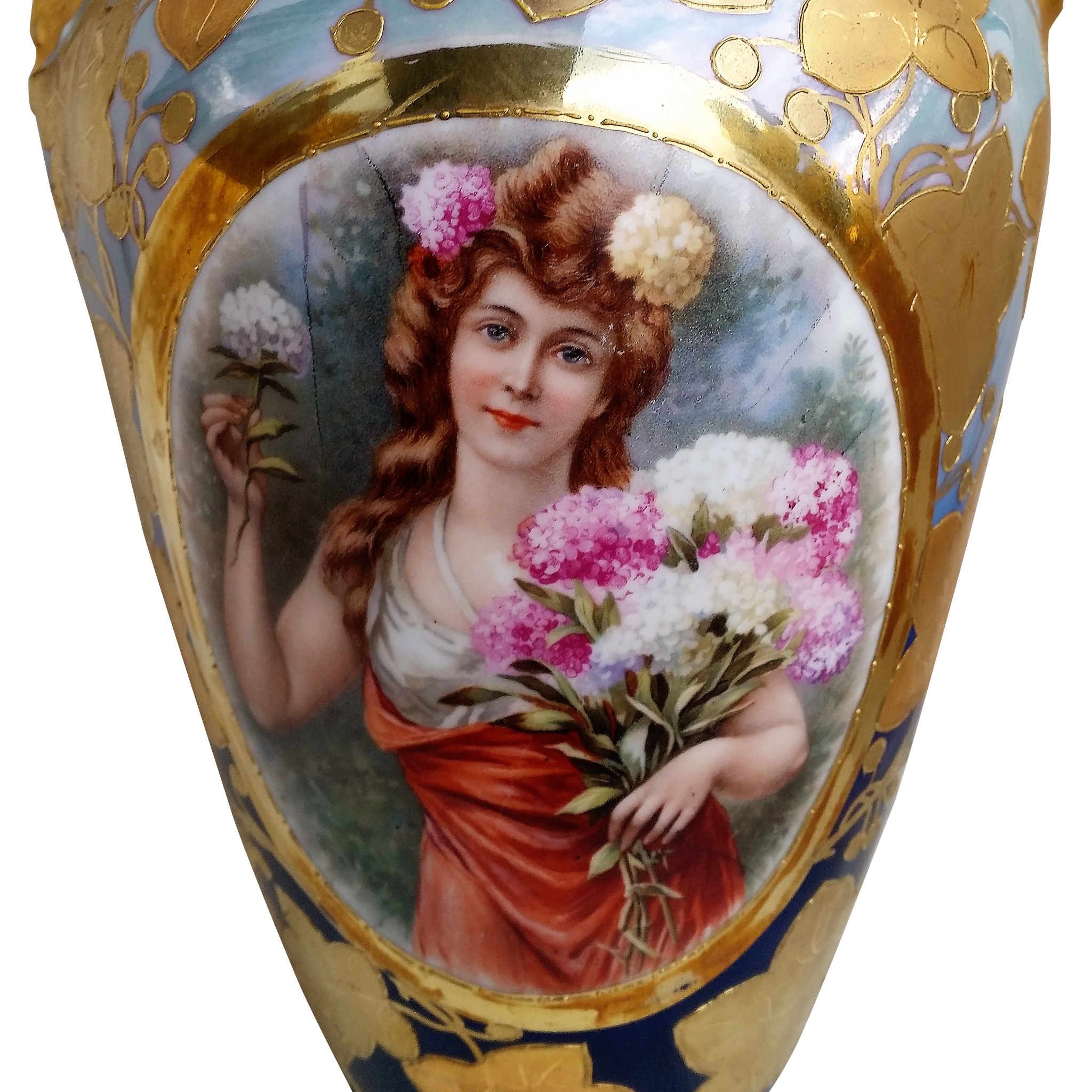 "Spectacular Royal Bavarian China Germany 1900's 14"" Portrait Of A Lady Holding A Bouquet of Mums Vase"