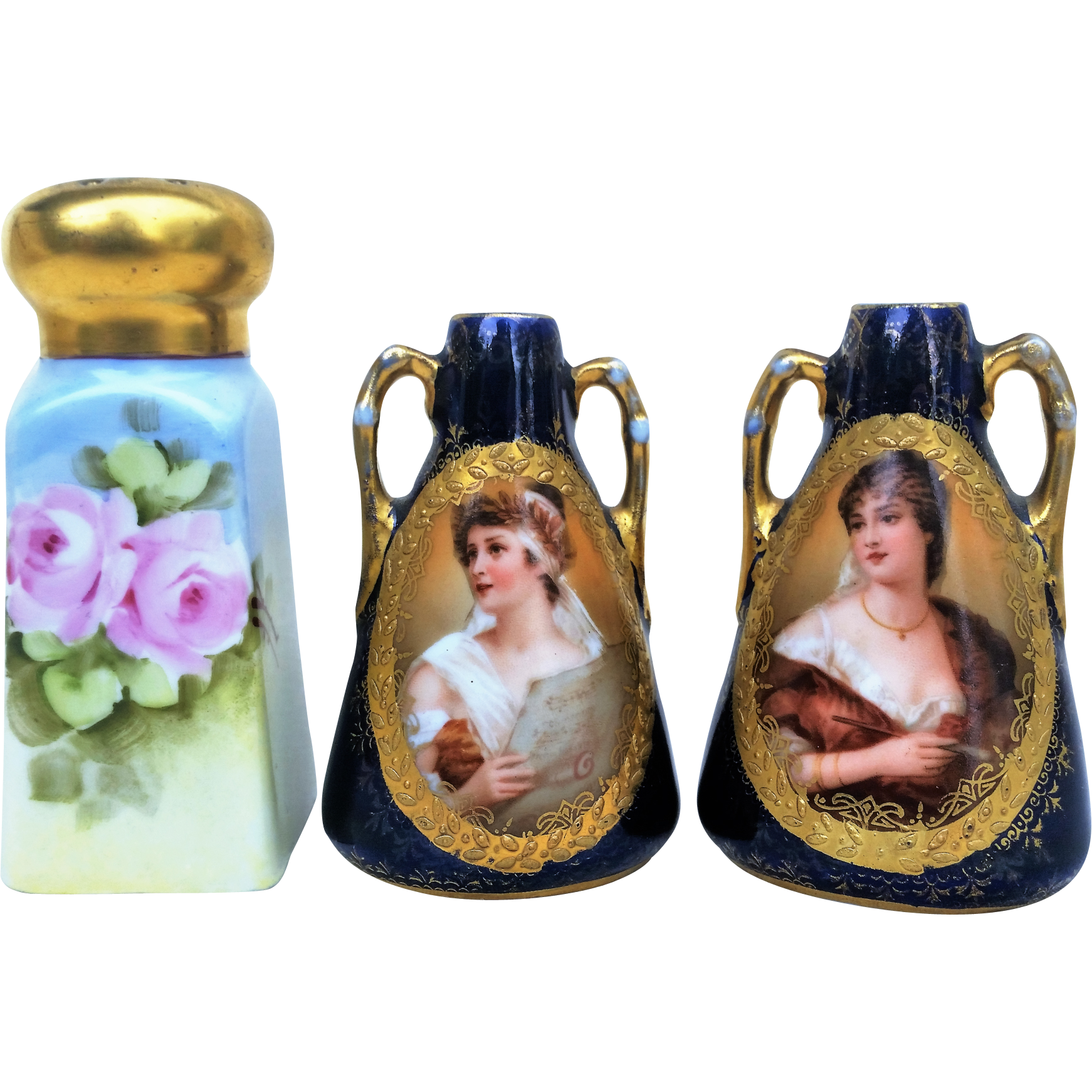 "Scarce RS Prussia 1900's Portraits of ""The Singer & The Artist"" 3"" Pair of Cobalt Miniature Vases"