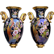 "Incredible Pickard Studio of Chicago 1900's Hand Painted Pair of ""Pheasant & Floral"" 16"" Urn/Lamps"" by the Artist, ""REAN"""