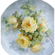 "Exceptional Late 1900's Hand Painted Lifelike ""Yellow Roses"" 12-1/2"" Floral Plate by the Listed Artist, ""Willene Hatfield"""