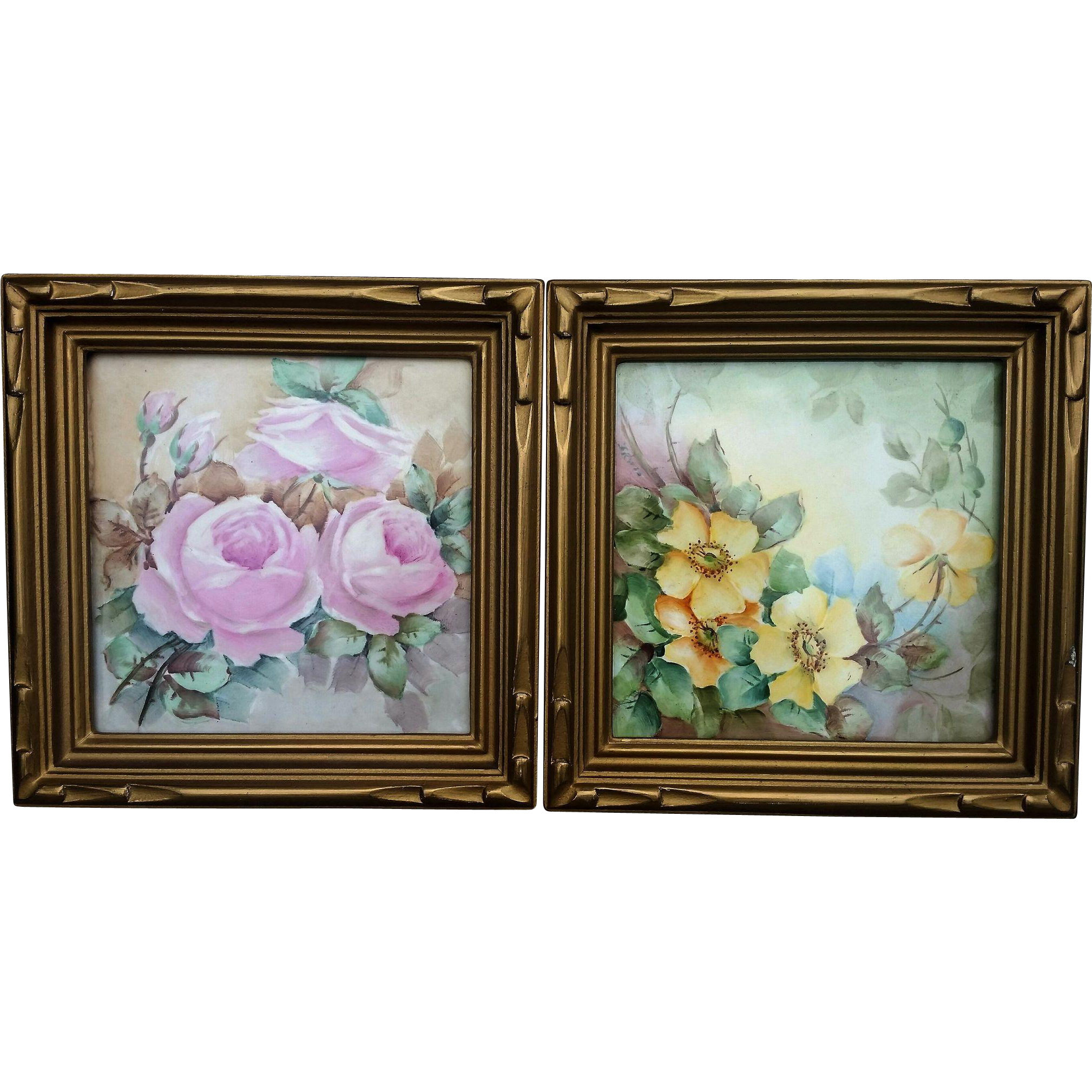 "Beautiful Wheeling Pottery Co. 1900's Hand Painted ""Pink Roses"" & ""Wild Yellow Roses"" 7-3/4"" x 7-3/4"" Floral Framed Tile"