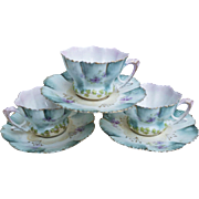 "Gorgeous RS Prussia 1900's Set of 3 ""Petite Violets"" Floral Cup & Saucer"