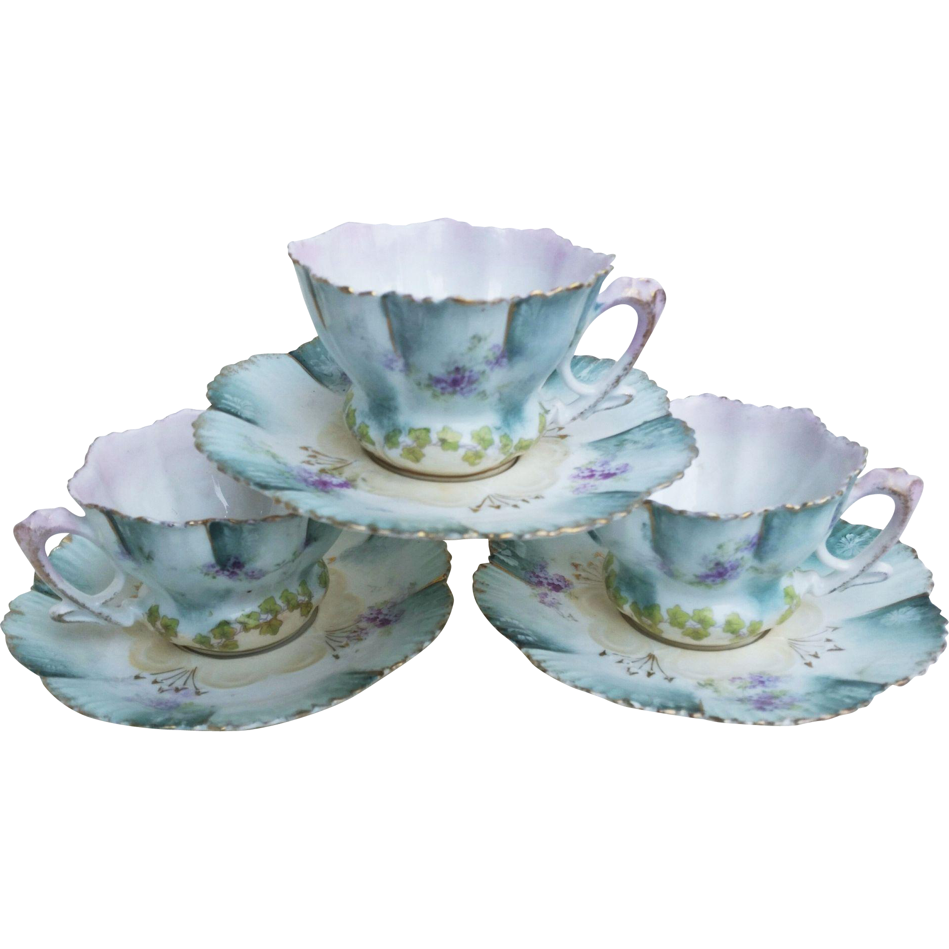 """Gorgeous RS Prussia 1900's Set of 3 """"Petite Violets"""" Floral Cup & Saucer"""
