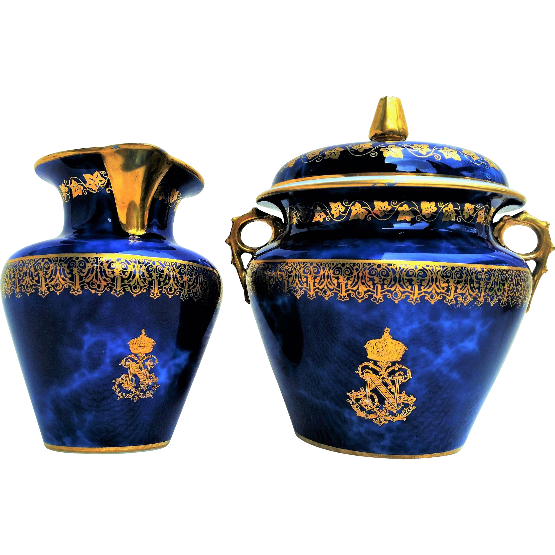 Outstanding & Scarce Sevres 1852-73 Hand Painted Napoleon III Cobalt Blue Sugar & Creamer Set