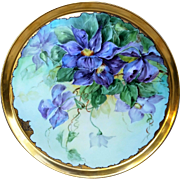 "Extraordinary 16"" T & V Limoges France 1900's Professionally Decorated Hand Painted Large Vibrant ""Iris"" Floral Tray by ""Leyman-Ehlers Studio"""