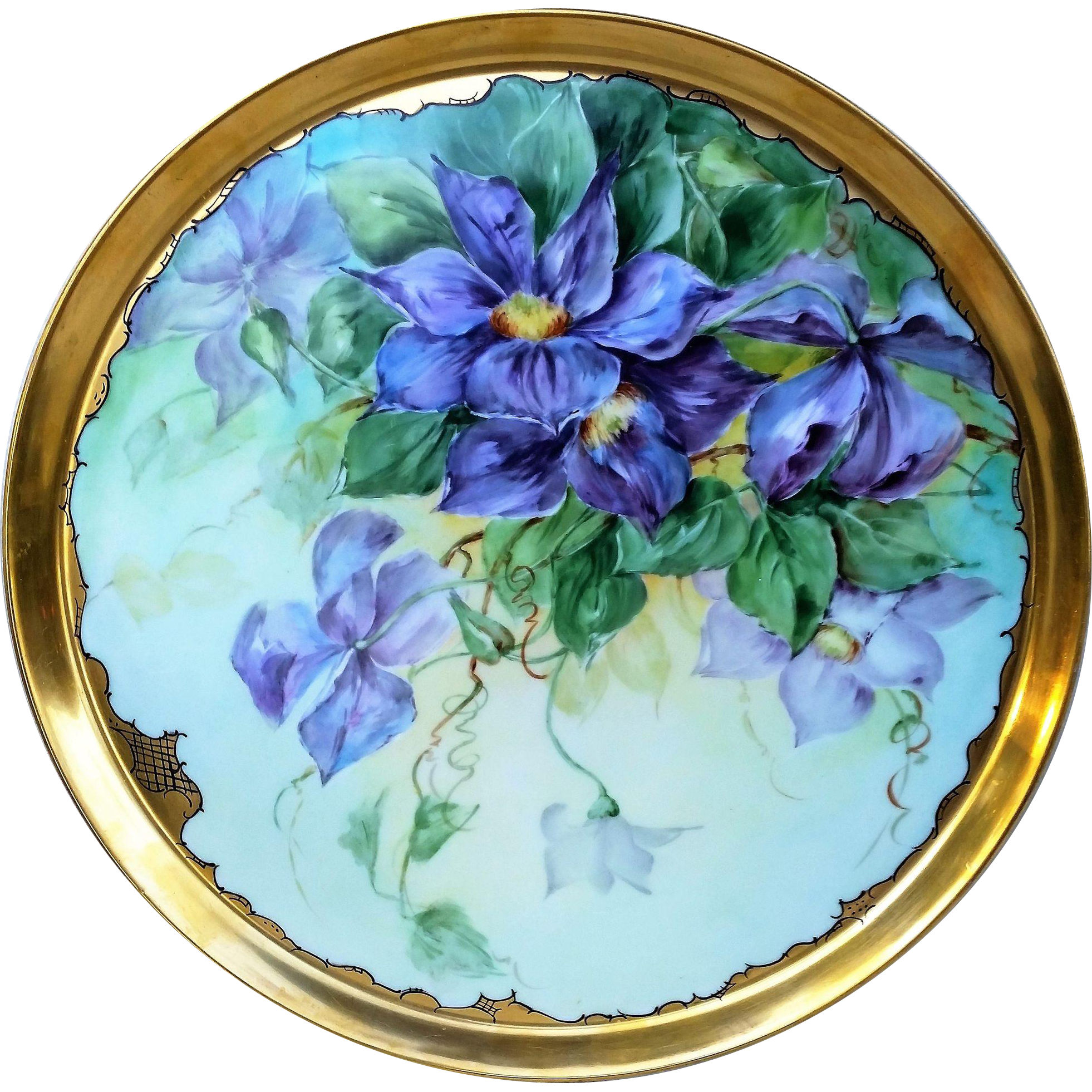 """Extraordinary 16"""" T & V Limoges France 1900's Professionally Decorated Hand Painted Large Vibrant """"Iris"""" Floral Tray by """"Leyman-Ehlers Studio"""""""