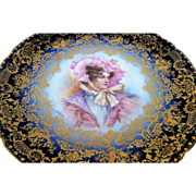 "Exquisite Jean Pouyat Limoges France 1900's Hand Painted Portrait ""Lady In A Bonnet"" 8-5/8"" Cobalt Blue & Heavy Gold Plate by Artist, ""Leone"""