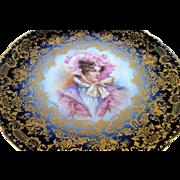 "Exquisite Jean Pouyat Limoges France 1900's Hand Painted Portrait ""Lady In A Bonnet"" 8-5/8"" Cobalt Blue & Heavy Gold Plate by Artist, ""Leone"""
