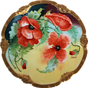 "Fancy Coronet Limoges France 1900's Hand Painted ""Burnt Orange Poppy"" 8-3/4"" Floral Plate by the French Artist, ""Barallie"""