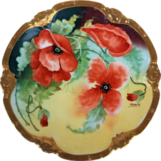"""Fancy Coronet Limoges France 1900's Hand Painted """"Burnt Orange Poppy"""" 8-3/4"""" Floral Plate by the French Artist, """"Barallie"""""""