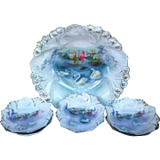 "RS Prussia 1900's ""Swans On the Lake with Reflecting Water Lilies"" 6-Pc Scenic Bowl & Berry Set"