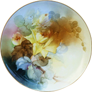 "Haviland France 1900's Hand Painted Soft Naturalistic ""Yellow Roses"" 9-1/4"" Floral Plate by Pickard Artist, ""Leon"""