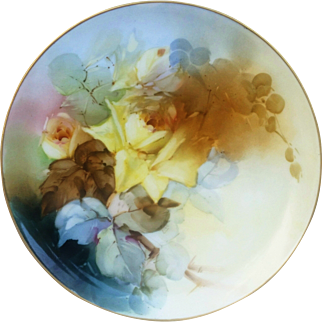 """Haviland France 1900's Hand Painted Soft Naturalistic """"Yellow Roses"""" 9-1/4"""" Floral Plate by Pickard Artist, """"Leon"""""""