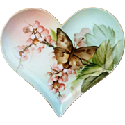 "Gorgeous T & V Limoges France 1890's Hand Painted ""Petite Peach Roses & Butterfly"" Heart Shape Floral Tray by Highly Regarded Artist, ""Ester Miler"""