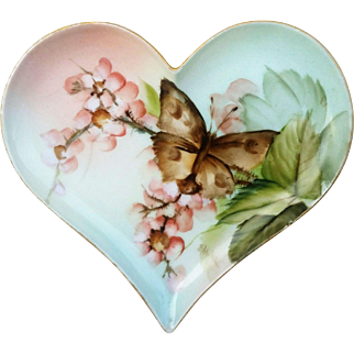 """Gorgeous T & V Limoges France 1890's Hand Painted """"Petite Peach Roses & Butterfly"""" Heart Shape Floral Tray by Highly Regarded Artist, """"Ester Miler"""""""