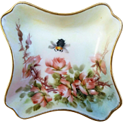 "Beautiful Limoges France 1890's Hand Painted ""Peach Roses & Bumblebee"" Fancy Floral Dish by Highly Regarded Artist, ""Ester Miler"""