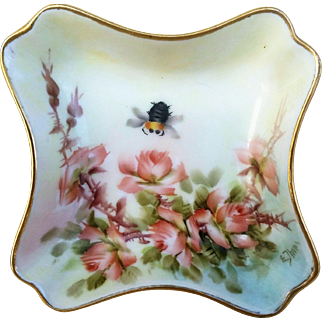 """Beautiful Limoges France 1890's Hand Painted """"Peach Roses & Bumblebee"""" Fancy Floral Dish by Highly Regarded Artist, """"Ester Miler"""""""