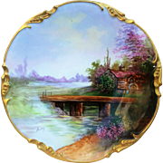 "Charming Jean Pouyat Limoges France 1900's Hand Painted ""Old Grist Mill"" 9-3/4"" Scenic Plate by French Artist, ""Andre"""