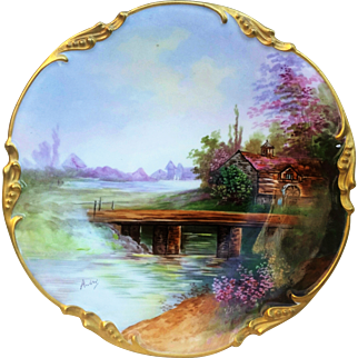 """Charming Jean Pouyat Limoges France 1900's Hand Painted """"Old Grist Mill"""" 9-3/4"""" Scenic Plate by French Artist, """"Andre"""""""