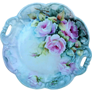 "Gorgeous Bavaria 1900's Hand Painted Large ""Pink Roses"" 11-1/4"" Floral Plate by the Artist, ""Vi Houle"""