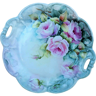 """Gorgeous Bavaria 1900's Hand Painted Large """"Pink Roses"""" 11-1/4"""" Floral Plate by the Artist, """"Vi Houle"""""""