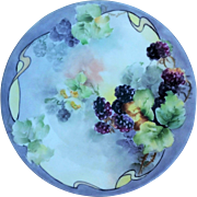 "Attractive Limoges France 1910 Hand Painted ""Blackberry"" 9-5/8"" Fruit Plate by the Aritst, ""S. Green"""
