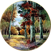 """Gorgeous Limoges France 1890's Hand Painted """"Autumn In the Forest"""" 13"""" Scenic Charger by the Listed Artist, """"F. Grunewald"""""""
