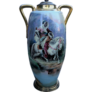 """Incredible 18"""" Limoges France 1900's Hand Painted """"Arab Warrior on Horseback"""" Scenic Vase-Lamp by Listed Artist, """"Adoph Heidrich"""""""