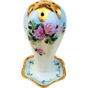 """Attractive Bavaria 1900's Hand Painted """"Pink Roses"""" 4-3/4"""" Floral Hatpin Holder by Artist, """"A.P. Fabian"""""""