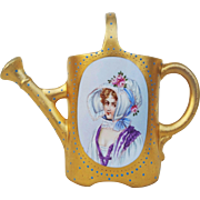 """Gorgeous Germany 1900's Hand Painted Portrait of """"A Lady in A Bonnet"""" All Gilded Gold & Beaded 5-1/4"""" Miniature Watering Can"""