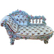 """Attractive Dresden Vintage 1900's Miniature Hand Painted """"Petite Pink & Baby Blue Daisies """"Floral Ornate Couch"""
