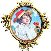 "Fancy & Ornate Vintage 1900's Brass Color Frame With Print of a Young Girl With A Poppy 16-5/8"" x 14-1/2"""
