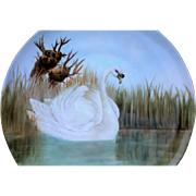 "Beautiful T & V Limoges France 1917 Hand Painted ""White Swan on the Lake"" 14"" Scenic Charger by the Artist, ""E. Wisckmann"""