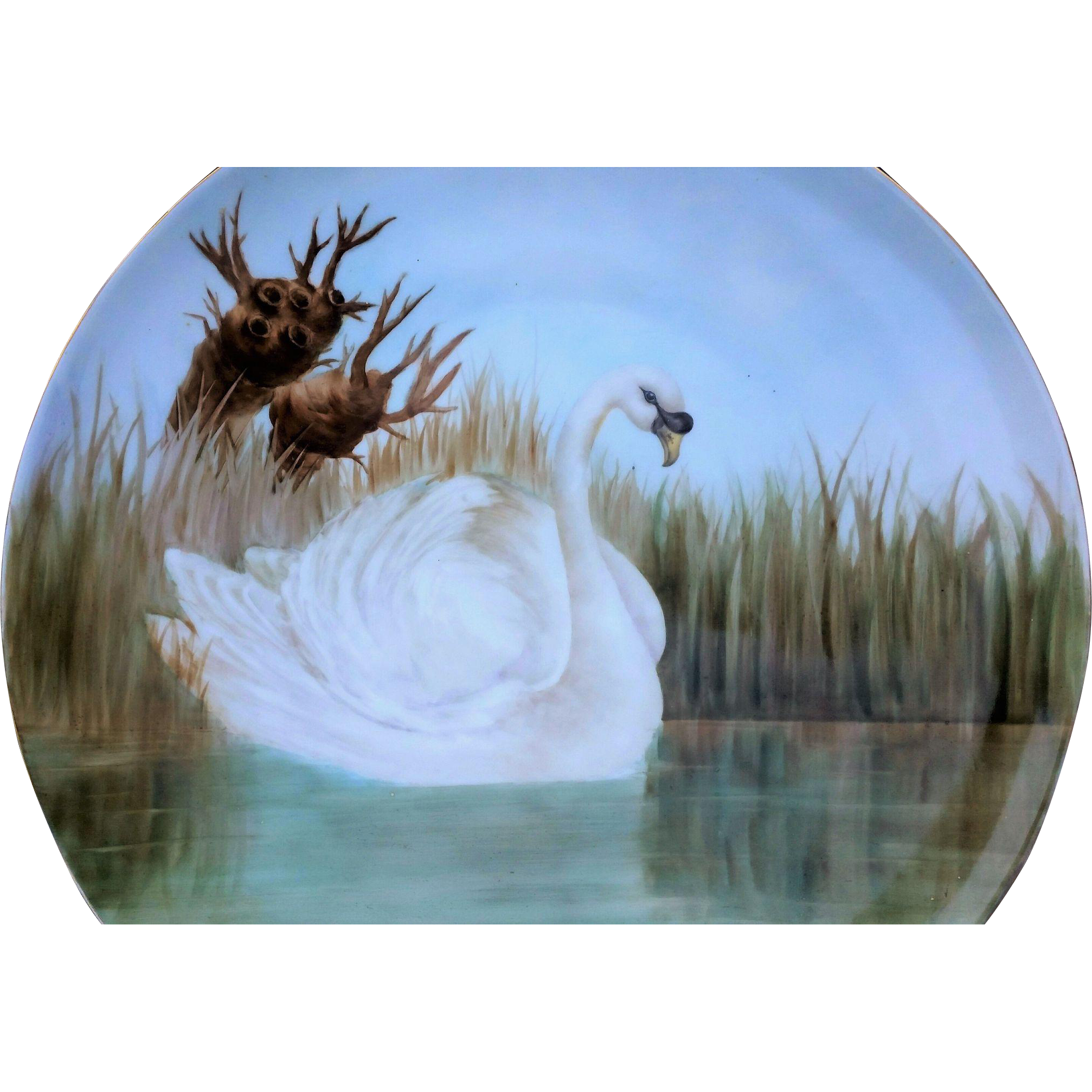 """Beautiful T & V Limoges France 1917 Hand Painted """"White Swan on the Lake"""" 14"""" Scenic Charger by the Artist, """"E. Wisckmann"""""""