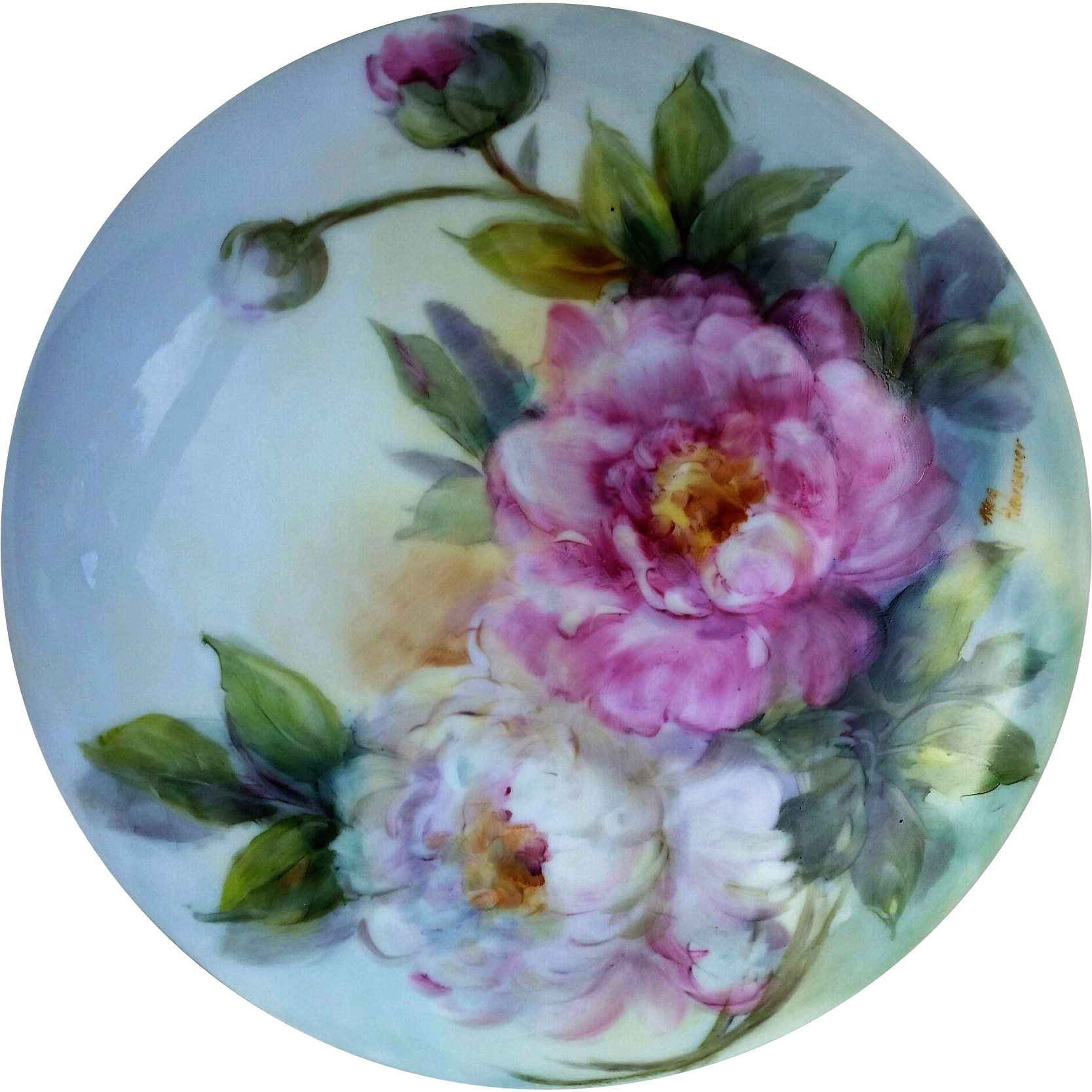 "Attractive Bavaria Hand Painted ""Pink & White Roses"" 7-1/4"" Floral Dresser Box by Artist, ""Meg Hausauer"""