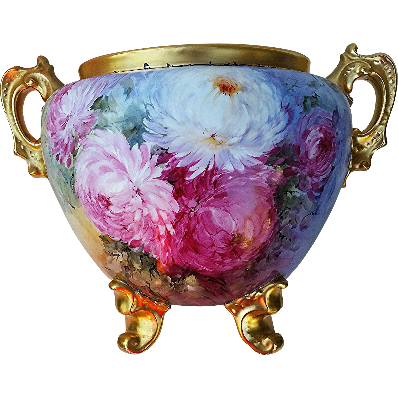 "Heinrich & Co. Selb Bavaria 1900's Hand Painted Vibrant ""Red, Pink, White, & Yellow Mums"" 11-1/4"" Floral & Footed Jardiniere"