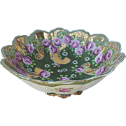 "Wonderful Nippon 1900's Moriage Hand Painted ""Red-Pink Roses"" With Heavy Gold & Blue Beading Pedestal Center Bowl"