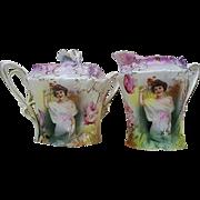 "Beautiful & Scarce RS Prussia 1900 ""Summer Season"" Carnation Mold Portrait Sugar & Creamer"