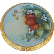 "Beautiful Bavaria 1900's Hand Painted ""Strawberry"" 6"" Fruit Trivet by Artist, ""A. Walter"""