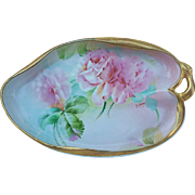 "Gorgeous Vintage Ginori 1900's Hand Painted Fancy ""Pink Roses"" 9-5/8"" Handle Tray by the Artist, ""E. Sarri"""