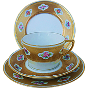 Beautiful William Guerin Limoges France 1900's Hand Painted Flowers in Relief,  With Heavy Gold, 4 Pc. Cup, Saucer, & 2 Matching Plates