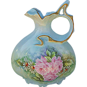 "Beautiful Bavaria 1900's Hand Painted ""Pink Roses & Daisies"" Fancy Scallop 8-1/2"" Pillow Shape Floral Ewer by the Artist, ""G.S."""