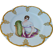 """Haviland & Co. Limoges France 1900 Hand Painted Portrait of """"Madame Récamier"""" 9-3/4"""" Plate by Artist, """"S.A.M."""""""